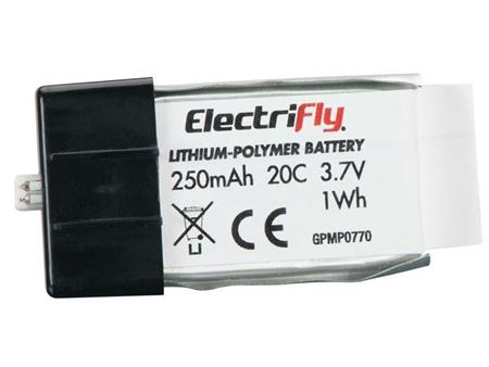 Picture of ElectriFly by Great Planes - LiPo 1S 3.7V 250mAh 20C ElectriFly GPMP0770