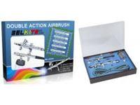 Immagine di Set con 2 Aerografi a Doppia Azione con tutti gli accessori (1 ad Aspirazione ed 1 a Gravit?)