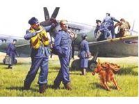 Immagine di ICM - 1:48 - RAF Pilots and Ground Personnel (1939-1945)  (7 figures - 3 pilots, 3 mechanics, 1 WREN member, and dog figure) 48081