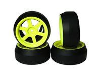 Immagine di Yeah racing spec d gomme da drift offset +3 cerchio 5 raggi giallo fluo (4) WL-0086