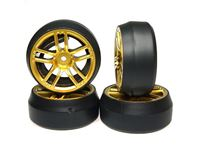 Picture of Yeah racing spec d gomme da drift offset +3 cx10 cerchio 10 raggi oro (4) WL-0090