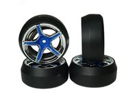 Picture of Yeah racing spec d gomme da drift offset +3 con cerchio ax505 blu/argento WL-0093