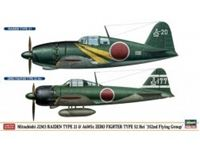 "Picture of MITSUBISHI J2M3 RAIDEN TYPE 21 & A6M5c ZERO FIGHT. TYPE 52 HEI ""352ND FLY. GROUP"" (2 kits / box) in scala 1:72"