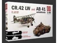Immagine di Comprende 2 Modelli: Autoblinda AB 41(stampo nuovo - chassis in metallo precolorato - gomme tenere) ? CR.42 LW (cockpit e motore dettagliati) in scala 1/48