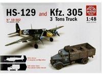 Immagine di Comprende 2 Modelli:KFZ.305 3 TONS TRUCK & HS129 HANSCHEL in scala 1/48