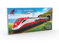 Picture of Treno Freccia rossa ETR500 a batterie, Treno composto da 4 pezzi, una locomotiva, due carrozze e una dummy (locomotiva non motorizzata). Include tracciato ovale binari e accessori. Per il funzionamento richiede 2 batterie da 1,5V formato AA non incluse (d