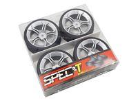 Immagine di Yeah Racing Spec T MS gomme in lattice Touring scolpite offset +3 con cerchio a 5 raggi Silver
