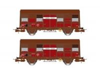 Picture of SNCF, 2-unit pack 2-axle covered wagons Gs 4, ÔÇ£Aquitaine ExpressÔÇØ, with open ventilation slides, period IV