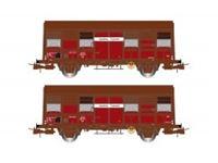 Immagine di SNCF, 2-unit pack 2-axle covered wagons Gs 4, ÔÇ£Aquitaine ExpressÔÇØ, with open ventilation slides, period IV