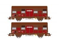 Picture of SNCF, 2-unit pack 2-axle covered wagons Gs 4, ÔÇ£Provence ExpressÔÇØ, with open ventilation slides, period IV
