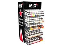 Immagine di MIG Display Stand (23 washes 75 ml x 4 each + 16 filters x 5 each + Thinner 75 ml x 4 units + Thinner 125 ml x 6 units =182 jars) Free Rack and Higher Discount Included