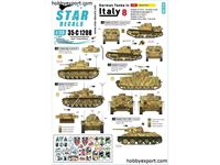 Immagine di 1/35 DECAL (DECAL) German Tanks In Italy No8. Mixed AFVs Ansaldo CV.35, PzBeobachtungsWg III Ausf.G, Befehls Pz.Kpfw.III Ausf.J,Pz.Kpfw.IV Ausf.H, Pz.Kpfw.747r T34 m43.