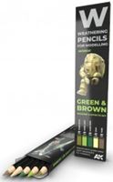 Picture of WATERCOLOR PENCIL SET GREEN AND BROWN CAMOUFLAGES
