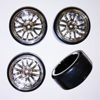 Picture of 1/10 Drift 14 spoke tire set silver (4 pcs)