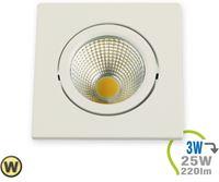 Immagine di V-TAC 3W LED Downlight COB Square - White Body Warm White